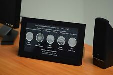 Canadian Silver Dollar 5 Coin Set, BU In Beautiful Wood Display Frame