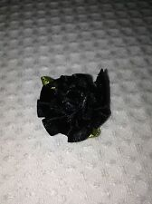 10 x pretty satin BLACK carnation flowers, ideal for sewing, craftwork or cards