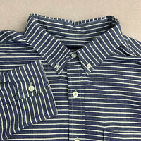 American Eagle Outfitters Prep Fit Button Up Shirt Mens Large Blue Long Sleeve