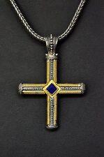Konstantino Men's Blue Lapis Cross Pendant Necklace 18K Gold Sterling Orpheus