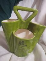 4 Horn Vase Holly Hobby 1970's Garden Kitchen Tool Art Supply Holder w Handle