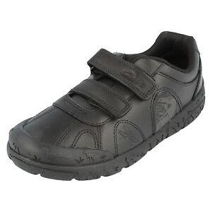 SALE Boys Clarks Black Leather Hook & loop Strap School Shoe BrontoStep