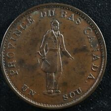 LC-8A2 Halfpenny token Un sou 1837 Lower Bas Canada City Bank Breton 522