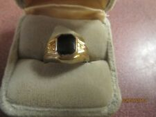 NWT LADY'S GOLD PLATED Ring Size 6 BLACK ONYX STONE FASHION COSTUME