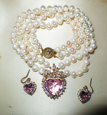 Lovely  freshwater  white pearl pink heart glass necklace and earrings