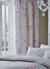 "Catherine Lansfield Canterbury Grey / Pink Pencil Pleat Lined Curtains 66""x72"""