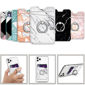 3M Adhesive Stick-on Credit Card Holder With Finger Ring Kickstand Phone Sticker