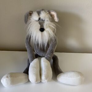 "Russ Berrie Plush 25"" Schnauzer Dog Long Legs, Hanger Paws"