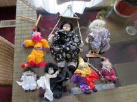 Lot of 7 Clown Collectibles- Puppet, Swings, Shelf Sitters, Porcelain faces