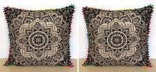 "2 Pcs Set Of 24X24"" Black Gold Sofa Square Cushion Pillow Covers Room Decorative"