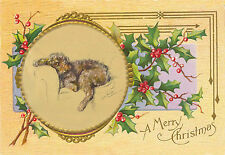 Poodle Dog Watches for Santa by Lucy Dawson 1946 New Blank Christmas Note Cards