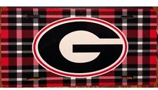 Georgia Bulldogs License Plate Metal Plaid G Tag UGA Red & Black