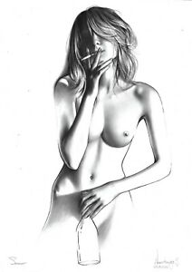 original drawing А3 178NJ art by samovar oil dry brush female nude girl smokes