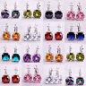 Fashion Rainbow White Topaz Amethyst Gemstone Dangle Hook Silver Women Earrings