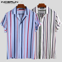Mens Retro Striped Shirts Stand Collar Holiday Beach Short Sleeve Tops Tee Loose