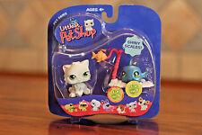Littlest Pet Shop Pet Pairs #327 Blue Shiny Fish #328 White & Gray Persian Cat
