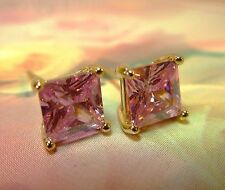 ~Beautiful Soft Pink For Spring 7mm Pink Topaz Cz Princess Cut Studs Gold Filled