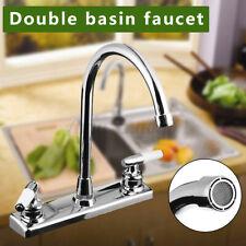 Double Handles Kitchen Faucet Hot&Cold Basin Sink Spout Mixer Water Tap
