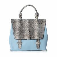 Womens Fashion Blue Faux Leather Snake Pattern Multi Wear Bag for Women Ladies