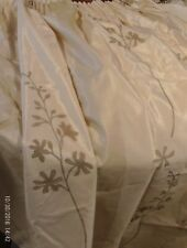 VINTAGE SATIN LOOK LONG CREAM & GOLD CURTAINS 2 MATCHING PAIRS +4TIE/TASELL.NEW