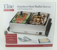 🔥NEW! ELITE Gourmet Stainless Steel Dual Buffet Server Warming Tray EWM-6122🔥