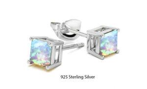 925 Sterling Silver 6mm Princess Cut Square White Opal Stud Earrings For Women