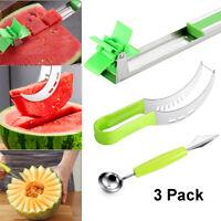 3 Pack Watermelon Slicer Cutter Knife Tongs Corer Fruit Melon Stainless Steel