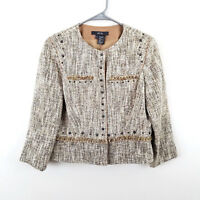 Per Se Tweed Jacket Blazer Beige Tan Fringe 3/4 Sleeve Womens Size 6
