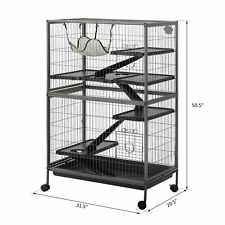 Pet Cage Small Animal Play House with Hammock and Ramps 4-Tier