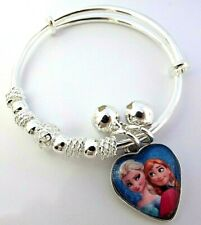 FROZEN  ELSA AND ANNA CHARM HEART BANGLE ADJUSTABLE 2-4  YEARS GIFT BOX PARTY