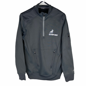 Samford Bulldogs 1/2 Zip Pullover Jacket Men's Small Gray Zip Pouch Pocket