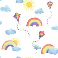 OVER THE RAINBOW FLYING KITES WALLPAPER WHITE / MULTI HOLDEN 91020