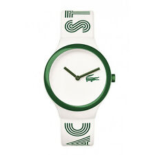 Lacoste Men's & Women's White Rubber Plastic Case Mineral Glass Watch 2020104
