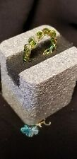 Green Glass Sd Bd Braided Gold plated Wire Wrapped Ring. Sz 4.5.   Handcrafted