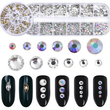 2Boxes/Set 3D Nail Art Rhinestones Flat Back AB Color Round Marquise Decoration