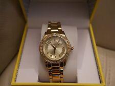 NEW WT BOX WOMEN'S LIZ CLAIBORNE YELLOW GOLD TONE RHINESTONE WATCH  LC1314