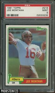"1981 Topps Football #216 Joe Montana 49ers RC Rookie HOF PSA 9 "" WELL CENTERED """