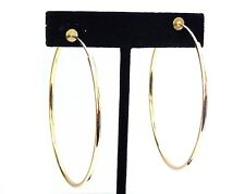 CLIP-ON EARRINGS GOLD TONE HOOP EARRINGS SIMPLE THIN 2.25 INCH HOOPS