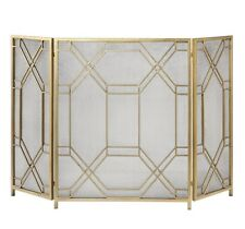 "Modern Geometric Design Aged Gold Leaf Fireplace Fire Screen Forged Metal 53""W"
