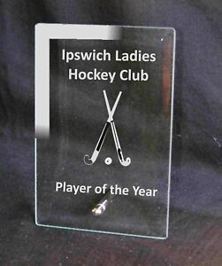 Personalised Engraved Glass Award Hockey Sport Prize