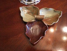 Glazed Handcrafted (signed) Leaf Themed Candy or Relish Dish NEW