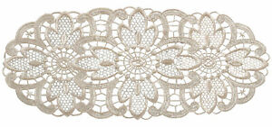 Cream Floral Lace Oval Doilies Pack of 6 Traditional Table Dressing Home Mats