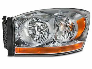 FOR DODGE RAM TRUCK 2006 HEADLIGHT HALOGEN W/CHROME LEFT DRIVER