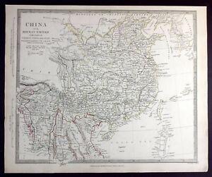 CHINA, BIRMAN EMPIRE, COCHIN-CHINA, SIAM, original antique map, SDUK, 1844