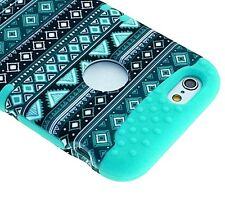 For iPhone 6+ / 6S+ Plus -HYBRID HIGH IMPACT ARMOR CASE TEAL GREEN BLUE AZTEC