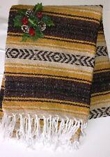 Mexican Blanket FalasYellow,Brown&Black Twin bed AZTEC* YOGI MAT* Serape XLARGE