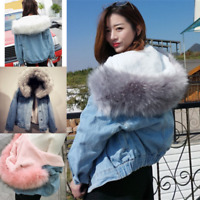 Women Denim Jacket Winter Warm Faux Fur Collar Casual Denim Trucker Jacket Coat