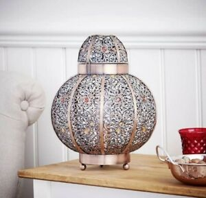 New Moroccan Bronze Bead Table Lamp Light LED Home Hallway Bed Room Dine Metal N