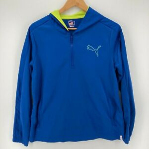Puma Hoodie Youth Size XL Blue 1/2 Zip Logo Athletic Active