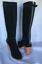 LOEFFLER RANDALL Black Suede Back Zipper Stacked High Boots US Size 7 New